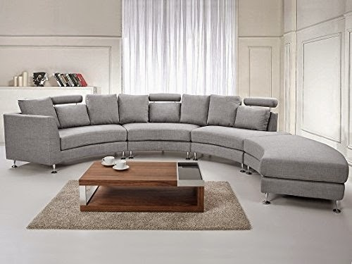 Beliani Grey Curved Sofa Sectional Modern