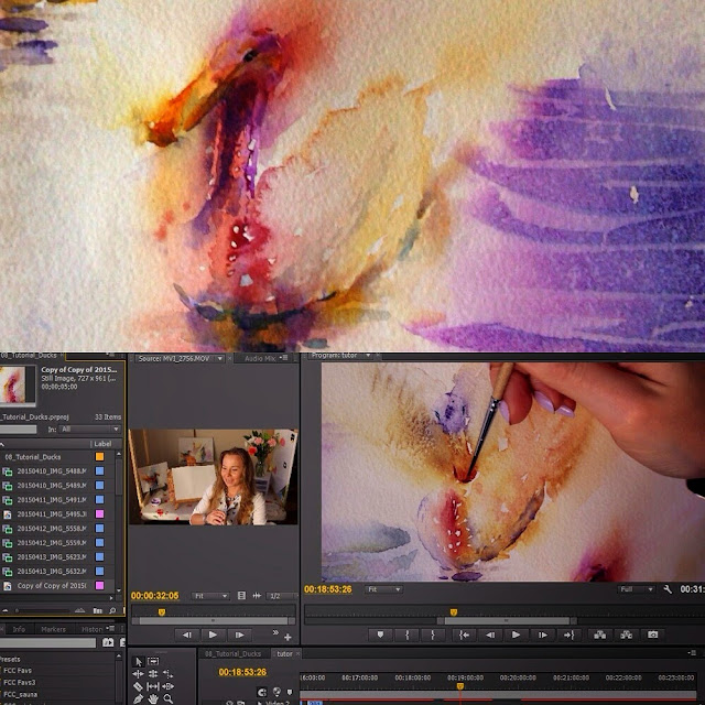 Upcoming watercolor painting tutorial by Olga Peregood. Film editing process