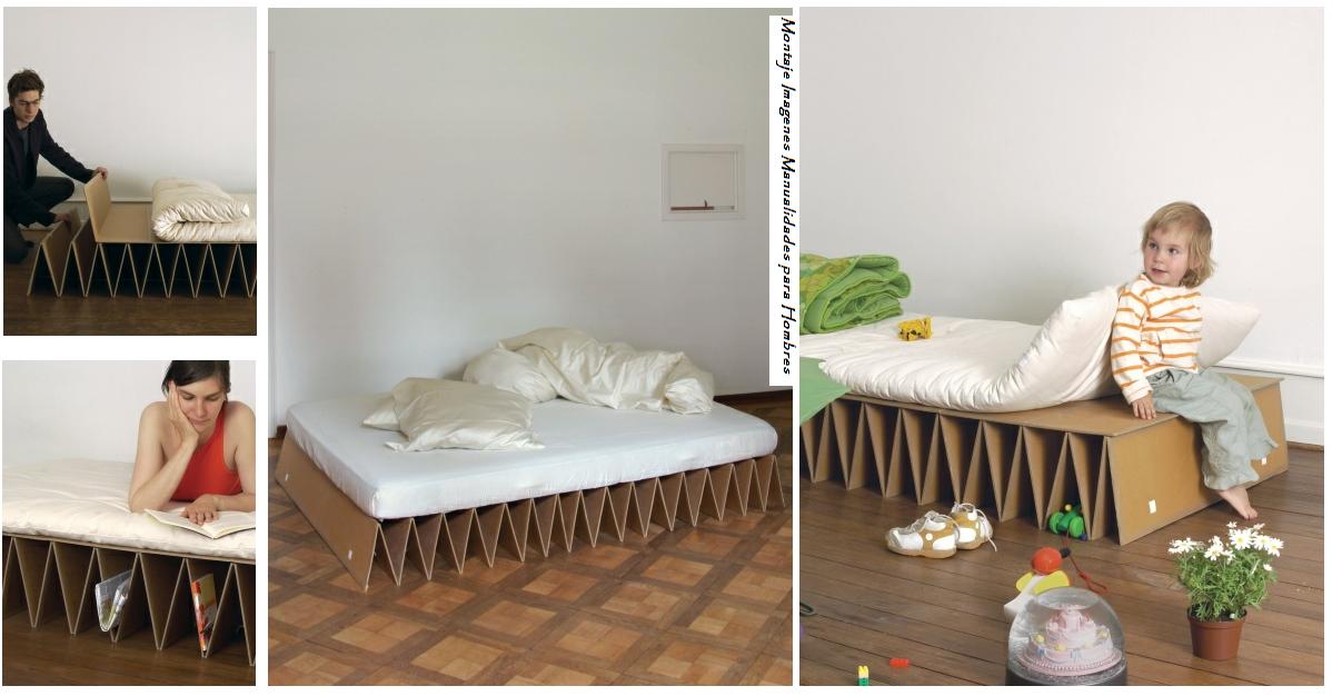Haz una cama de carton de una sola pieza manualidades - Como construir una cama ...