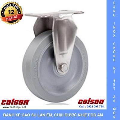 Bánh xe đẩy cao su đặc càng inox 304 Colson không để vết | 2-5408-444 www.banhxedayhang.net