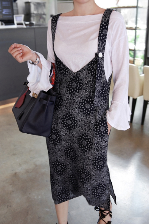 Arabesque Pattern Pinafore Dress