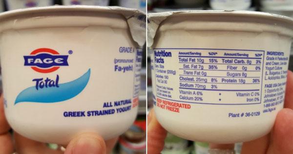 Low Fat Yogurt or Plain Milk