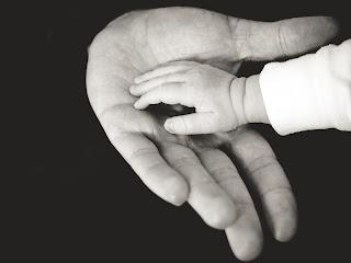 Une main de bébé dans une main d'adulte