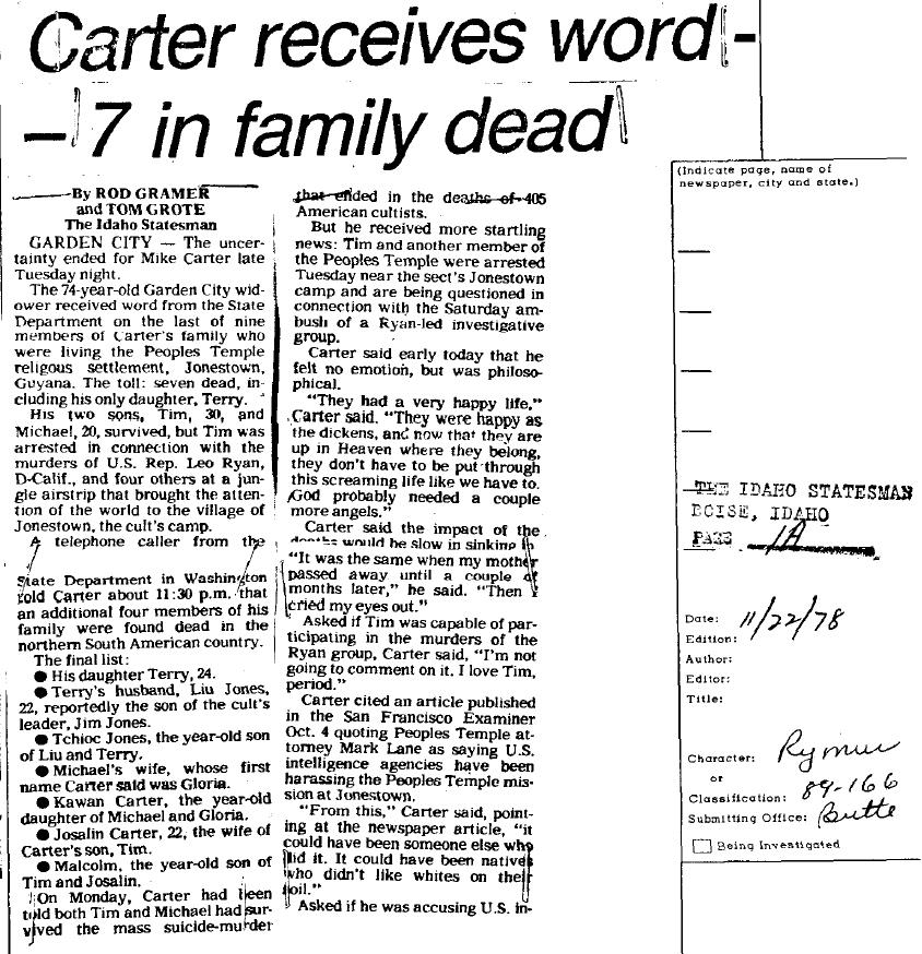 1978 the idaho statesman page 1 a carter receives word 7 in family ...