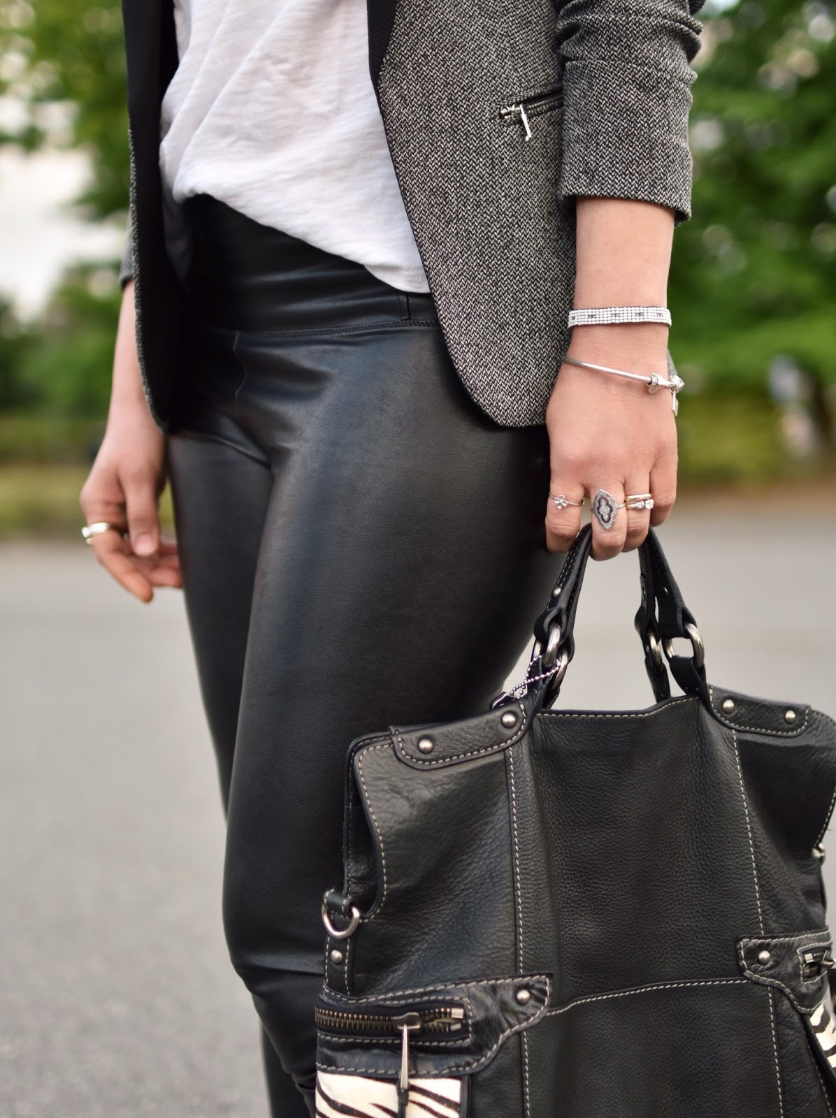 blazer, faux-leather leggings, slouchy white tee, Fossil bag