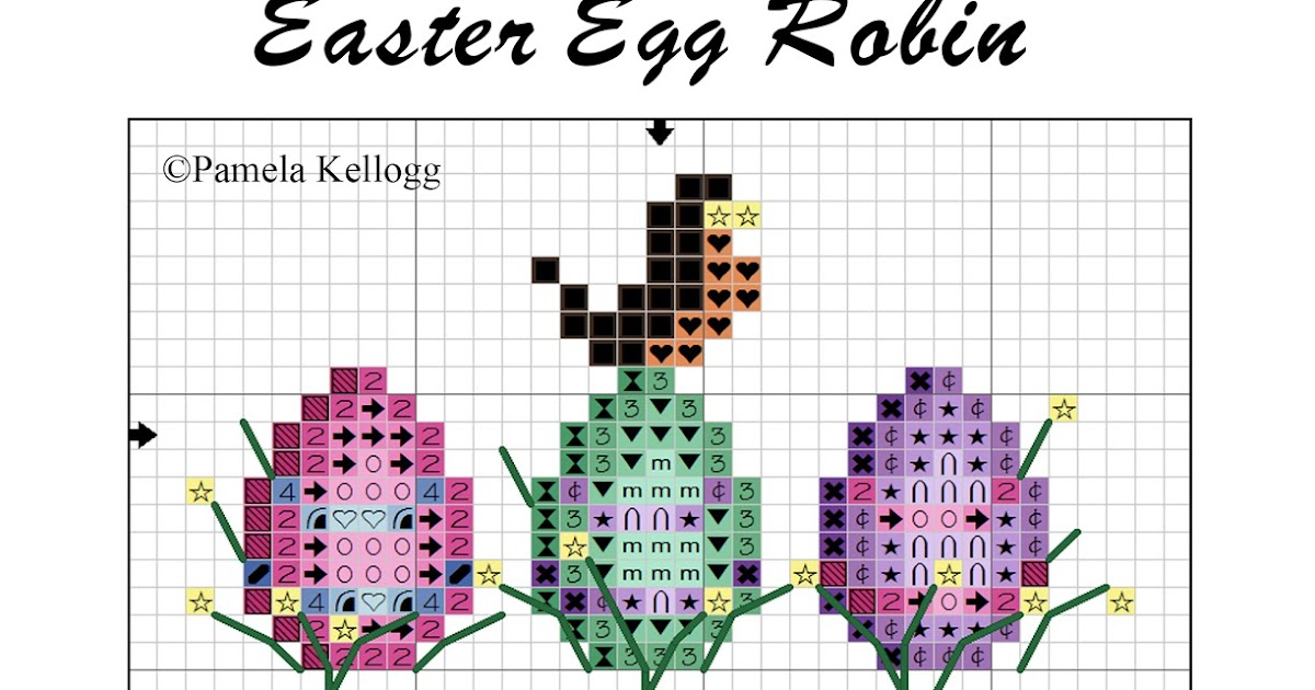 Kitty And Me Designs Easter Egg Robin Free Cross Stitch