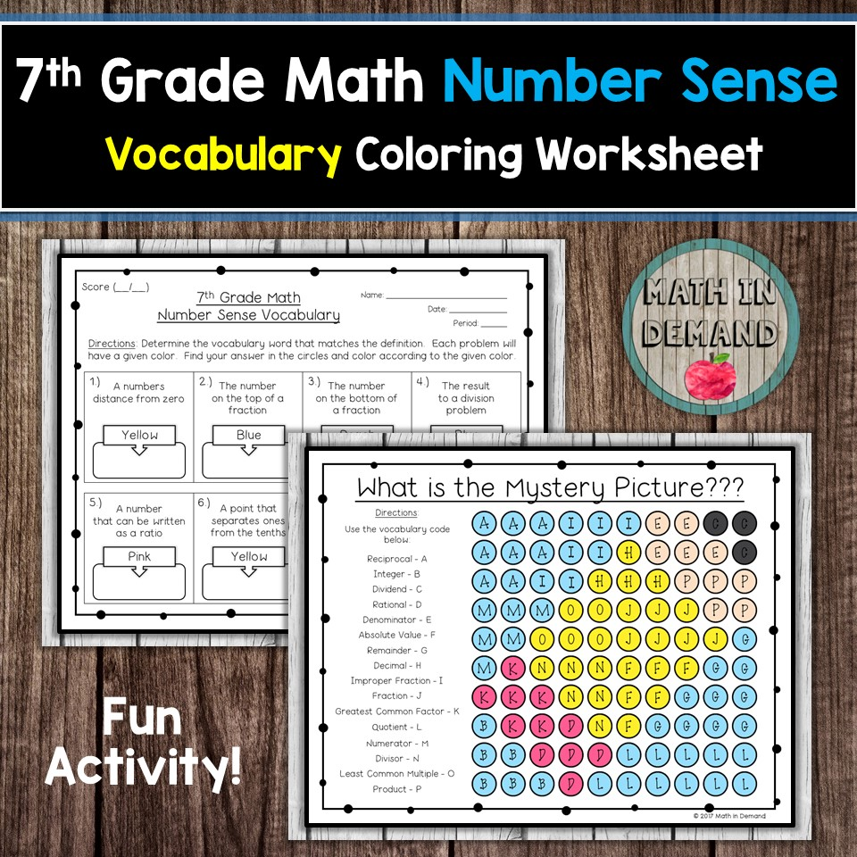 small resolution of 7th Grade Math Vocabulary Coloring Worksheets