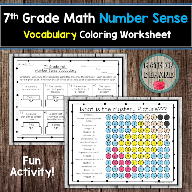 7th Grade Math Vocabulary Number Sense