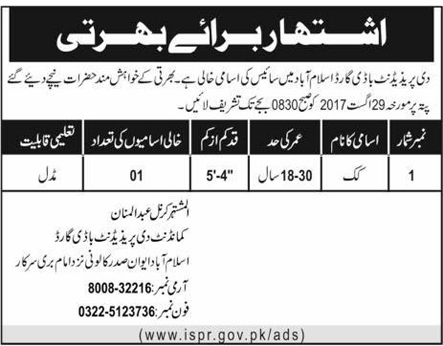 Jobs in The President Bodyguard Islamabad Aug 2017