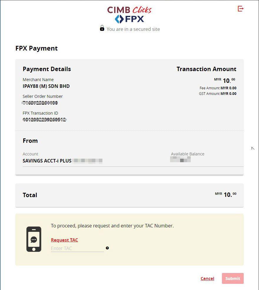 XOX FAST Online Banking TAC