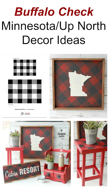 Buffalo Check Minnesota/Up North/Cabin Decor Ideas #cabindecor #buffalocheck #buffaloplaid #oldsignstencils #stencil #upcycle #repurpose