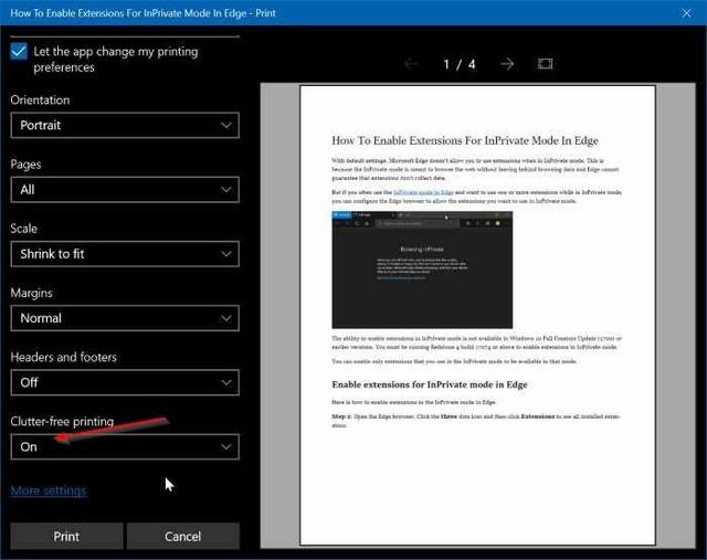 كيفية طباعة صفحات الويب بدون إعلانات في ويندوز 10