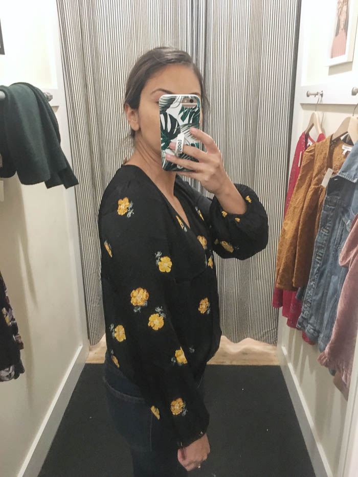 womens yellow and black wrap top