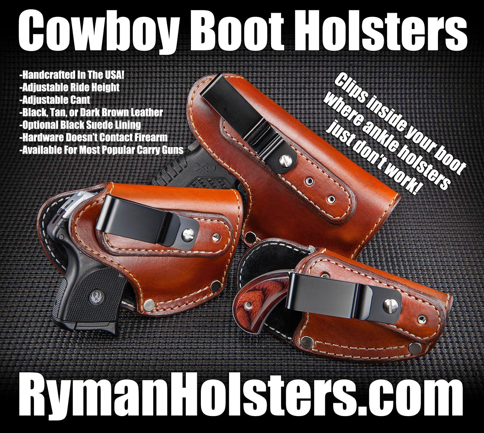 Ryman Holsters, Boot Holster, Cowboy Boot Holaster, Boot Ankle Holster, Ankle Holster, Leg Holster, Cowboy Holster