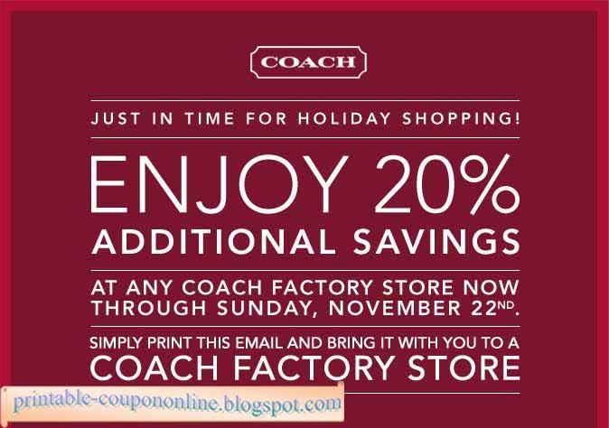 Coach coupon printable 2018