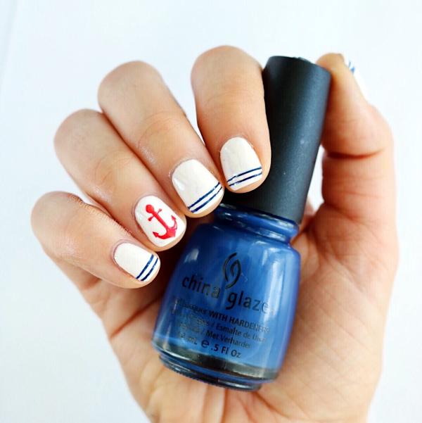 Patriotic Nail Art - Nautical Nail Art - China Glaze First Mate - Tori's Pretty Things Blog