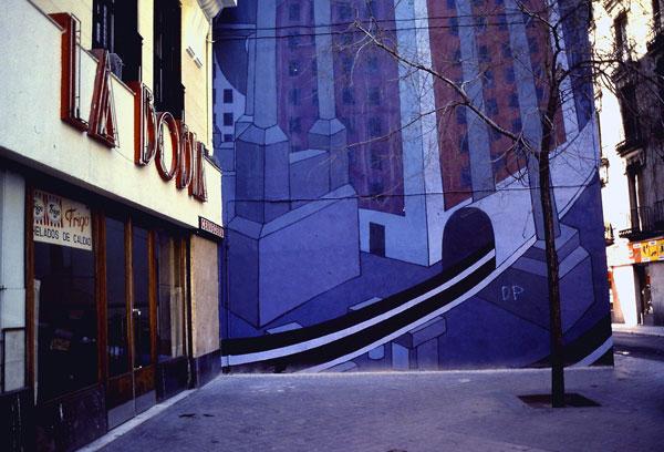Medianería pintada en el centro de Madrid. La Bobia años ochenta. Foto: Rodrigo L. Alonso