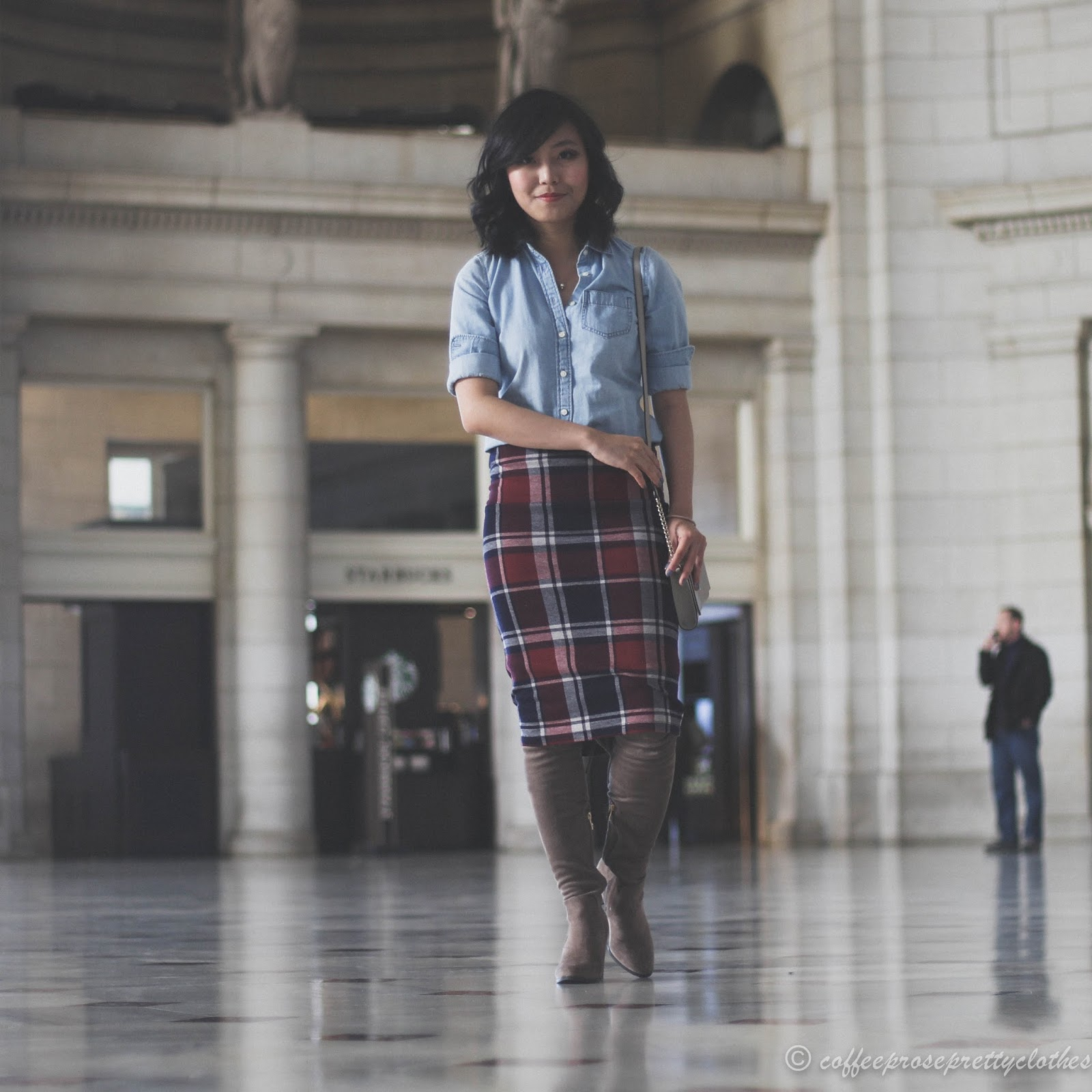 J.Crew Chambray shirt, Plaid midi skirt, Over the knee boots