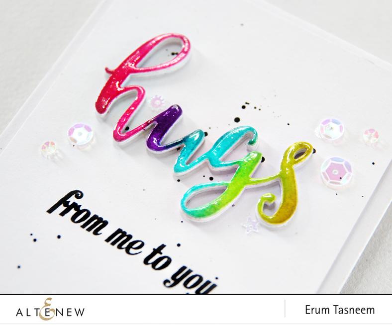 Rainbow Inked Altenew Script Words Die Set + Heartfelt Sentiments Stamp Set. Card by Erum Tasneem - @pr0digy0