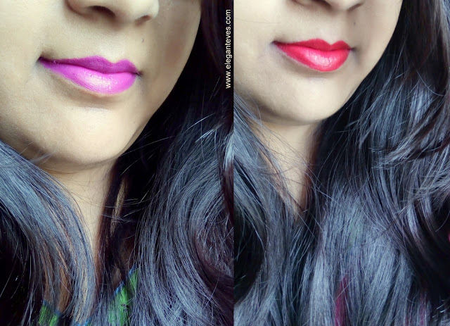 Swatches of L'oreal Paris Moist Matte Lipsticks Lincoln Rose and Glamor Fuchsia india review