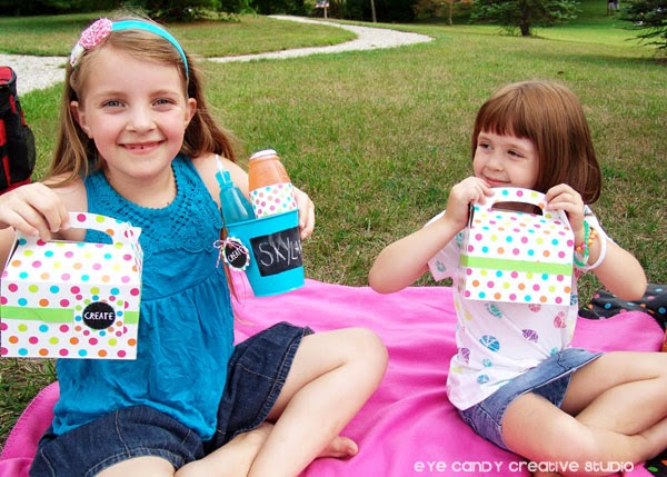 girls at art party picnic, chalkboard decor, boxed lunch, picnic in the park