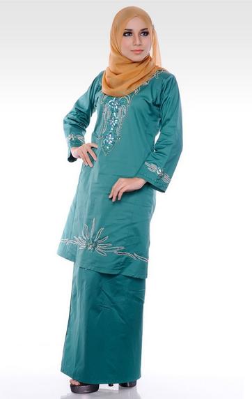 Model Baju Kurung Terbaru Batik Melayu Kombinasi Bordir -4328