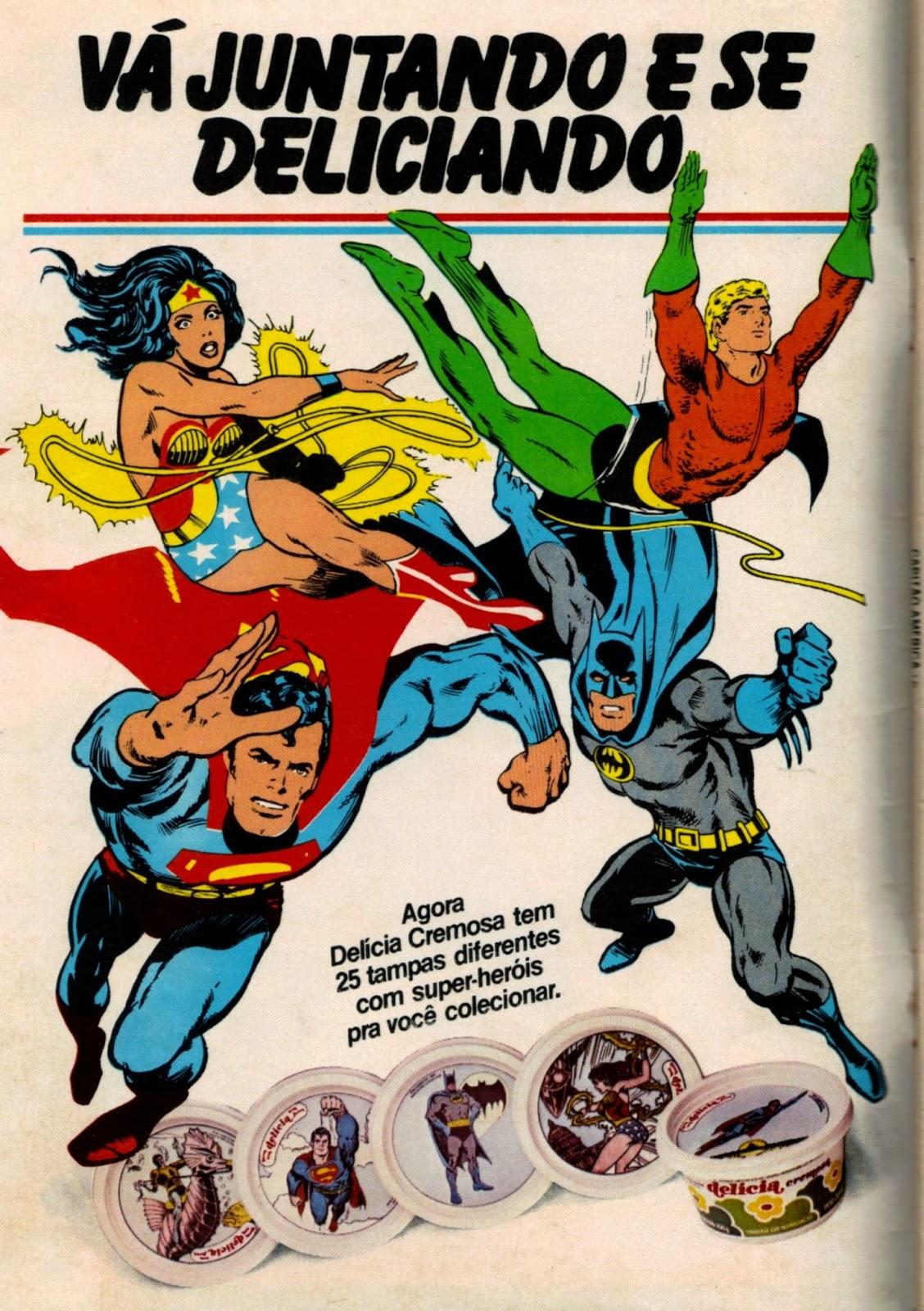 Propaganda antiga da Margarina Delícia que apresentou coleção de tampas com super-heróis