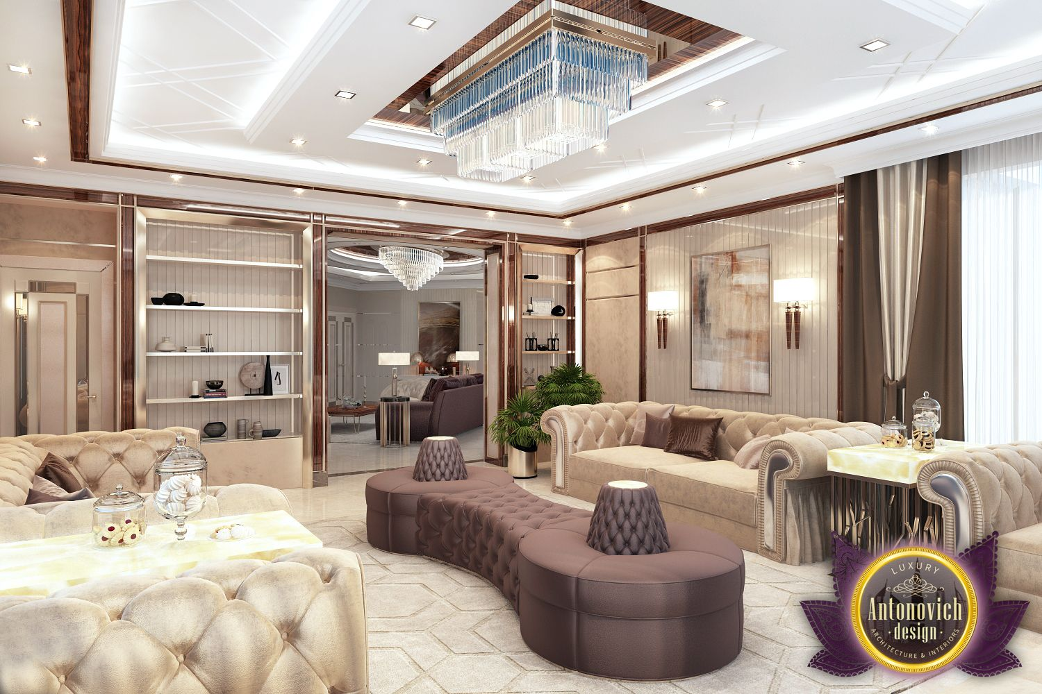 A large number of furniture indicates cordiality and hospitality of the owners of the house this is a fine example of modern luxury with accent nouveau and