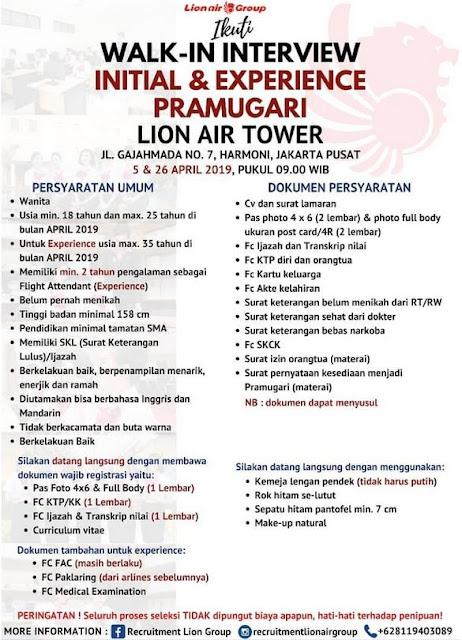 Lowongan Kerja Lion Air April 2019