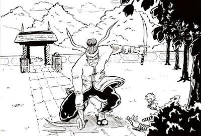 Dessin d'un samouraï et ses katanas - encrage