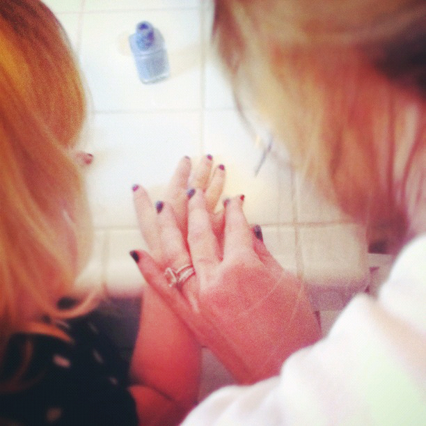 painting toddler's nails