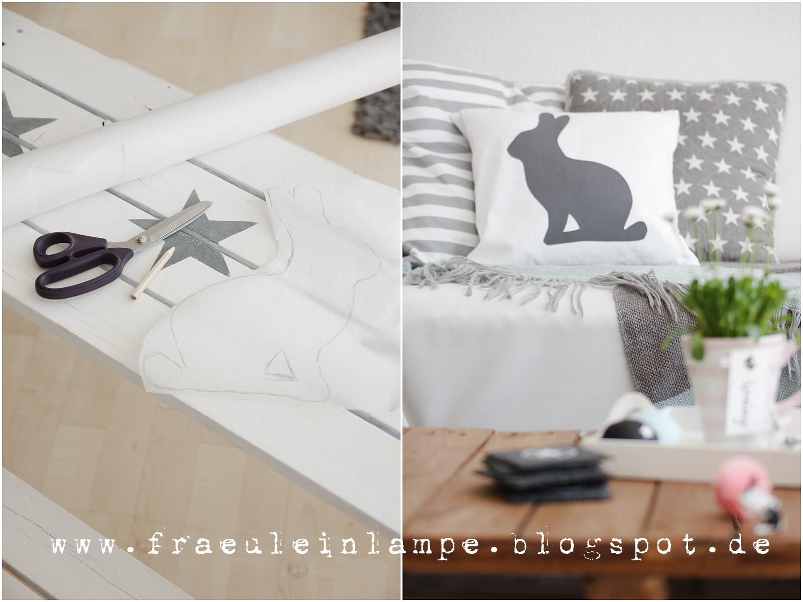fr ulein lampe hasenkissen diy eier und herzensdinge. Black Bedroom Furniture Sets. Home Design Ideas