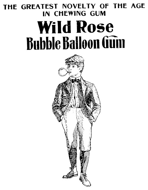 A 1902 illustrated advertisement for Wild Rose balloon bubble gum