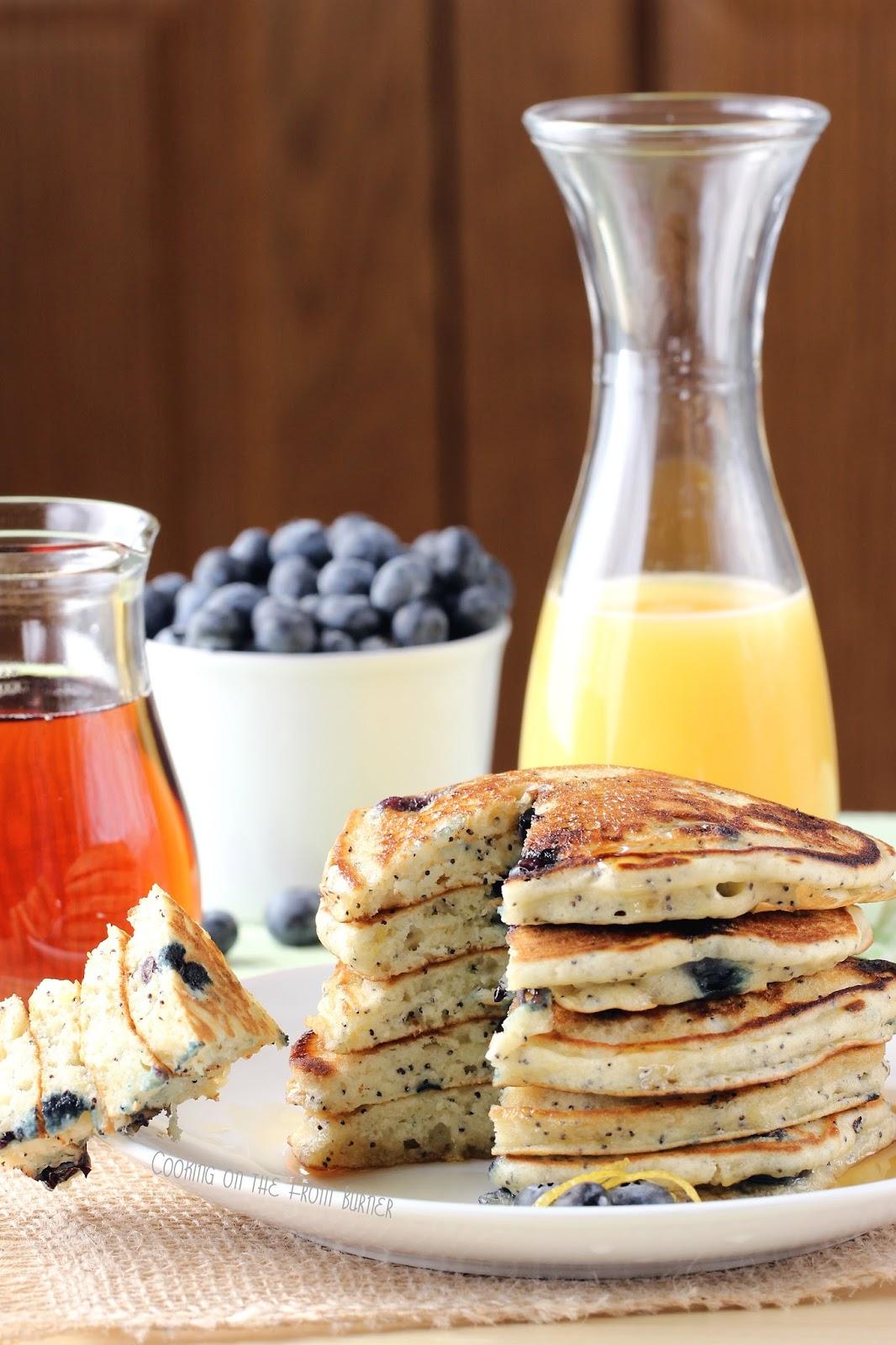 Lemon Blueberry Poppy Seed Pancakes | Cooking on the Front Burner #lemonblueberrypancakes #brunch
