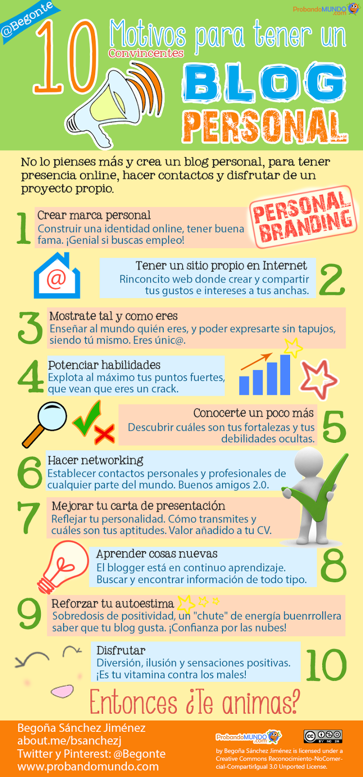 Infografía 10 Motivos para tener un blog personal
