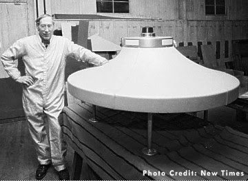 Dante Vaghi, stands by a spaceship that he created in this 1982