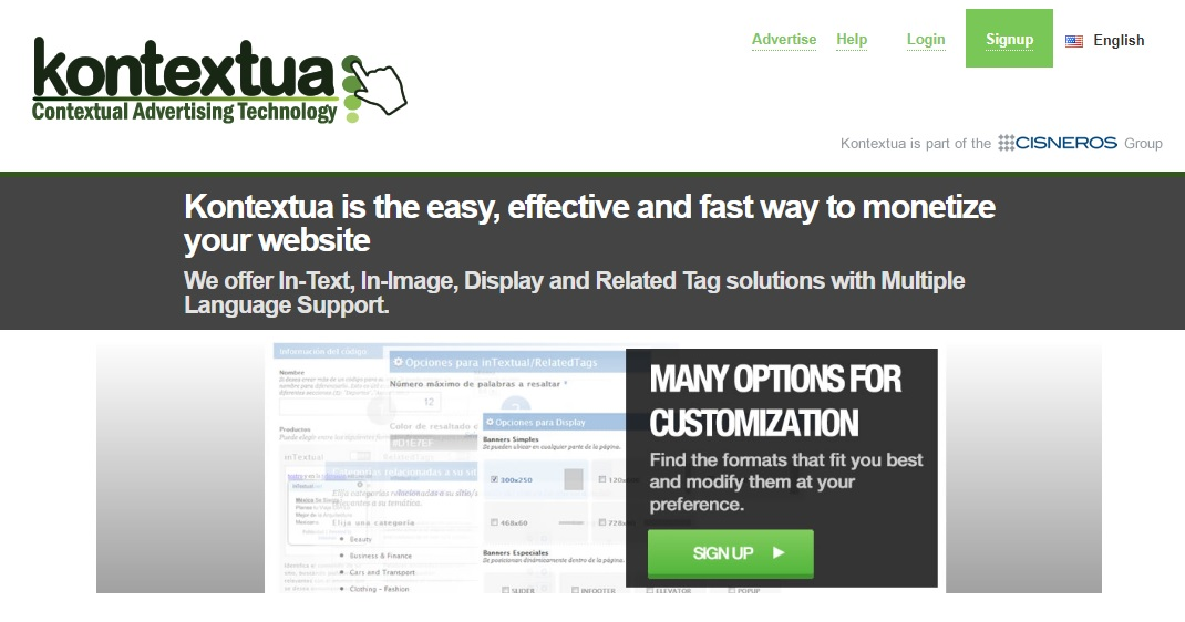 Kontextua - in-Text, in-Image and display Ads.
