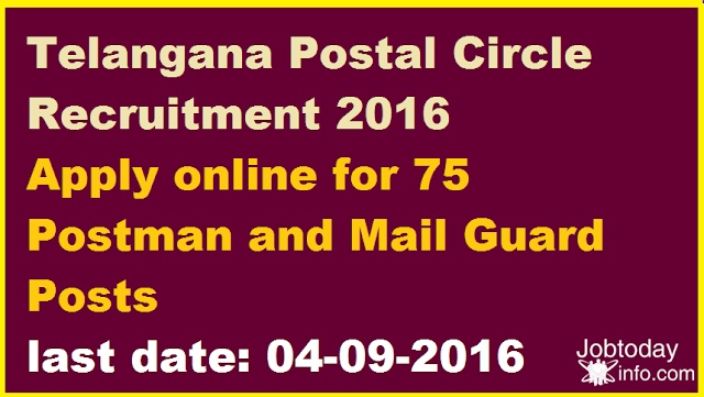 Telangana Postal Circle Recruitment 2016 Apply online for 75 Postman and Mail Guard Posts