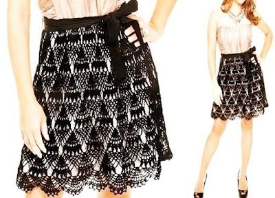 Falda Crochet para llevar con un body patrón