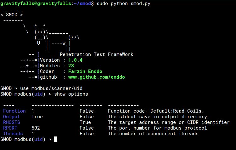 smod - A MODBUS Pentesting Framework written in Python 2
