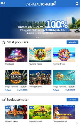 SverigeAutomaten Casino Games Screen