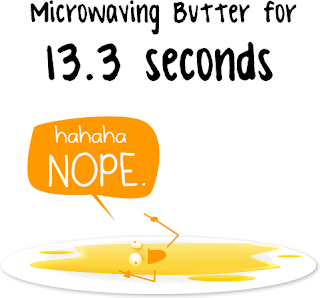 microwaving butter 13.3 seconds