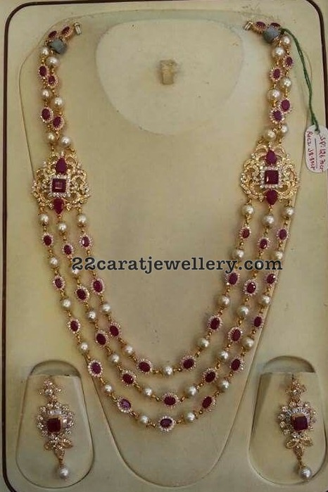 Ruby Diamond Pearls Set 126 Grams