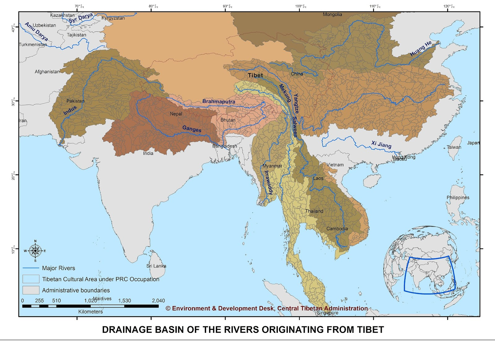 Plateau Of Tibet On Map Of Asia.Tibet Environment And Development Impact On River Hydrology In
