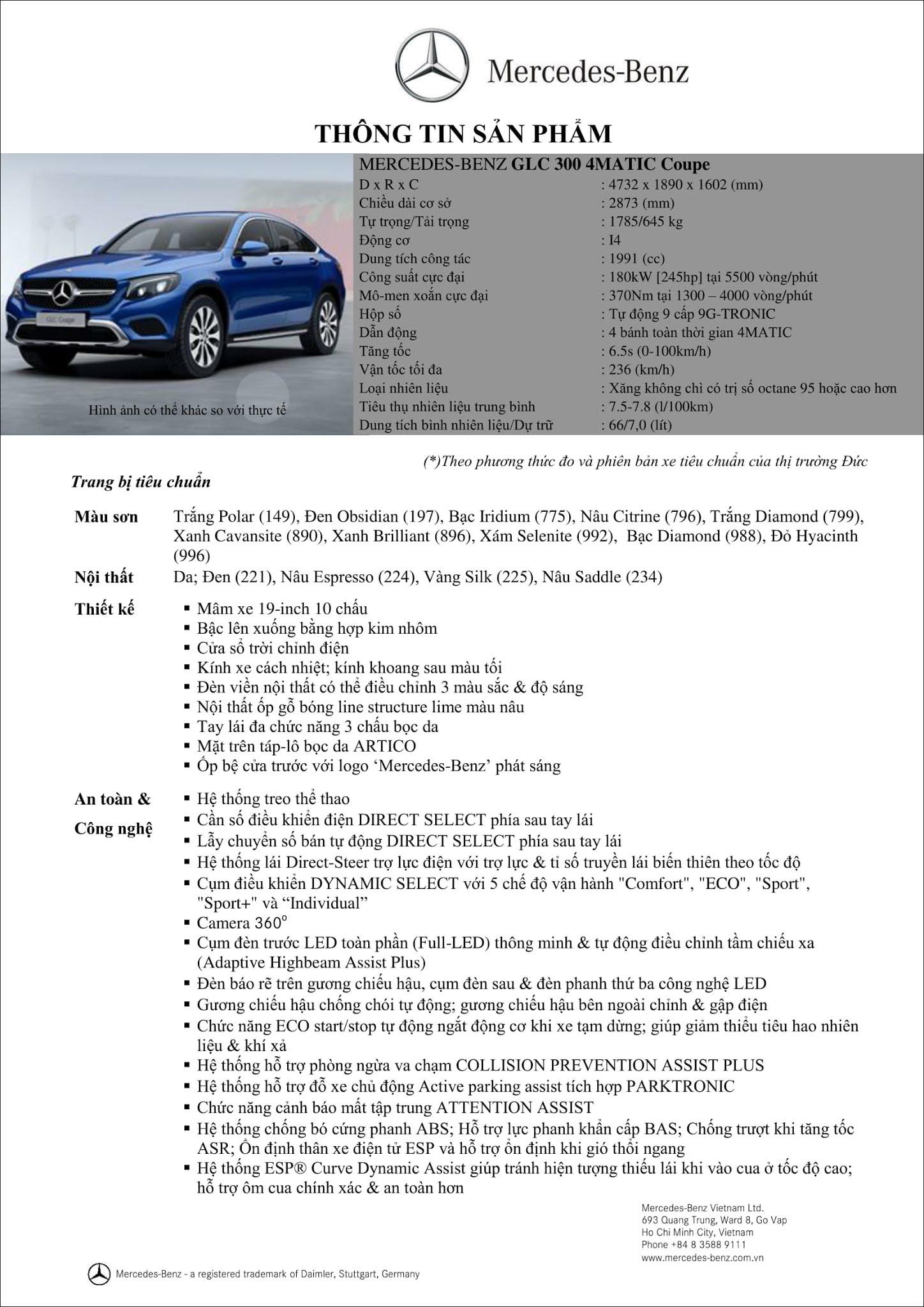 Bảng thông số kỹ thuật Mercedes GLC 300 4MATIC Coupe 2019 tại thị trường Việt Nam