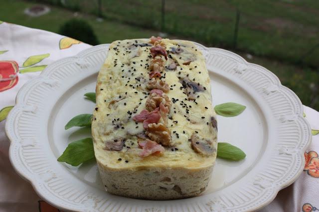 pastel de verduras y champiñones (que sabe a quiché), en microondas