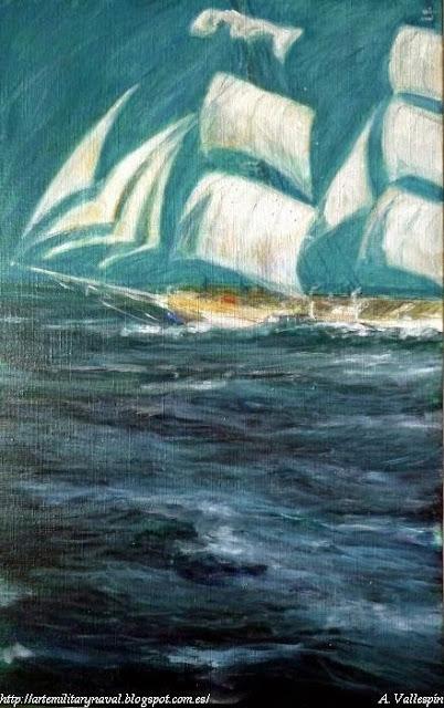 Pintura al óleo de buque escuela christian radich