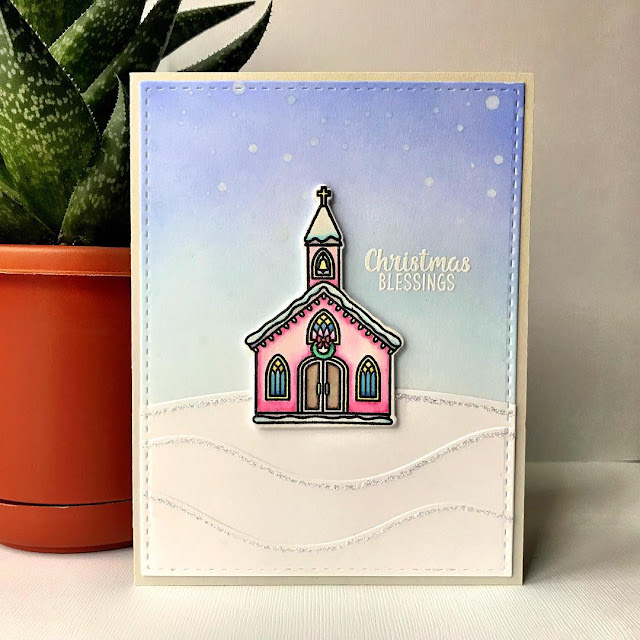 Sunny Studio Stamps: Christmas Chapel Customer Card Share by Jamie Patsilevas