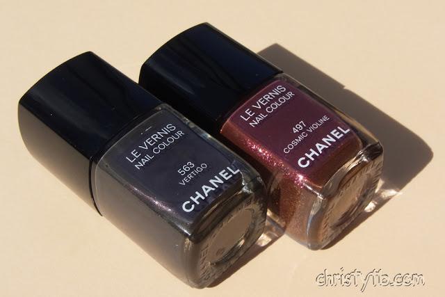 Chanel Le Vernis 563 Vertigo (Fall 2012), Chanel Le Vernis 497 Cosmic Violine