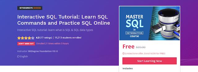 - تعلم الـ SQL بشكل تفاعلي و إحترافي مع شهادة : السعر الأصلي 90$ إستفد منه الآن مجانا تبقي يومين